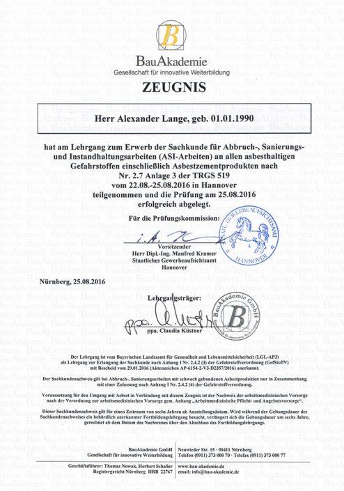 Zertifikat der Bauspenglerei Lange zur Durchführung der Asbestsanirung